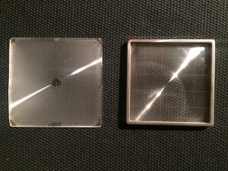 Original HCAM focusing screen (left) and Hasselblad focusing screen (right)
